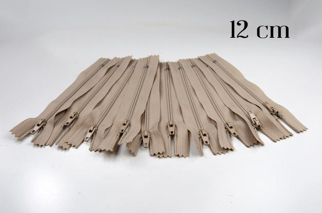 10 x 12cm hellbeige Reißverschlüsse