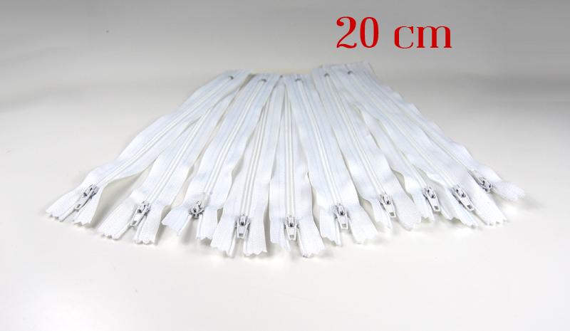 10 x 20cm weiße Reißverschlüsse