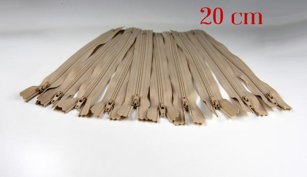 10 x 20cm hellbeige Reißverschlüsse