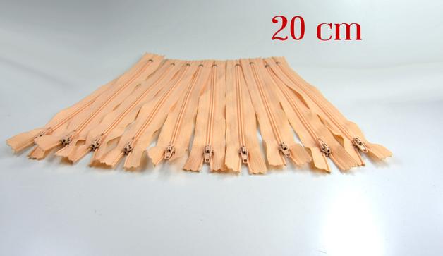 10 x 20cm apricotfarbene Reißverschlüsse - 1