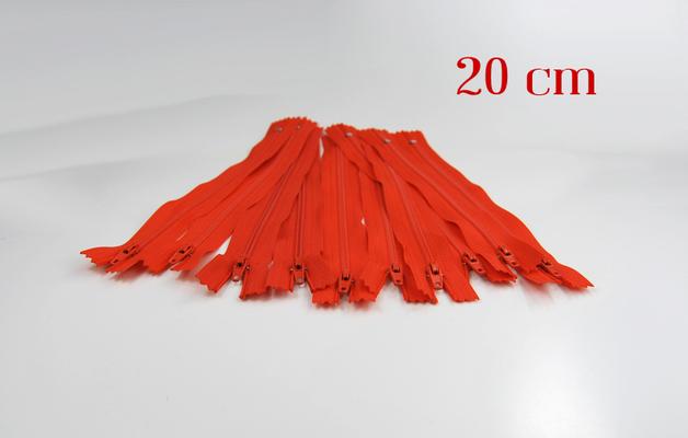10 x 20cm orangene Reißverschlüsse