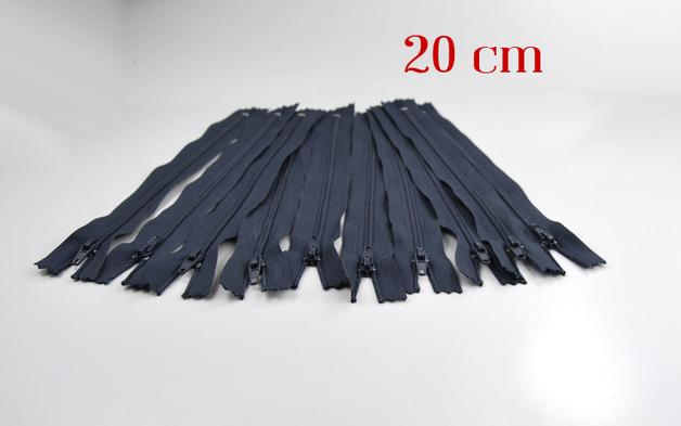 10 x 20cm blaugraue Reissverschluesse
