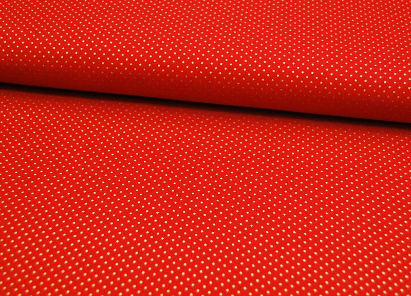 Rote Baumwolle mit goldene Minipunkte 0 5 Meter