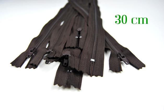 10 x 30 cm schokobraune Reißverschlüsse