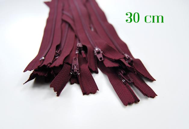 10 x 30 cm bordeauxfarbene Reißverschlüsse - 1