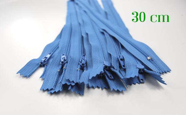 10 x 30cm hellblaue Reißverschlüsse