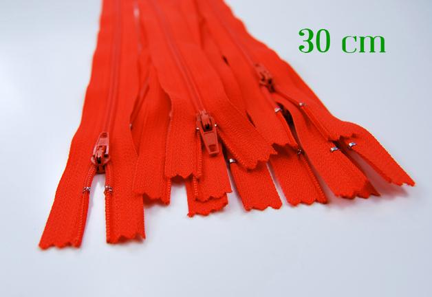 10 x 30cm orangene Reißverschlüsse - 1