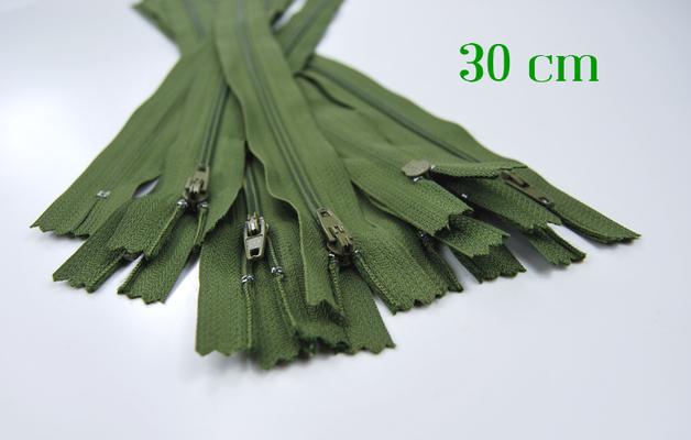 10 x 30cm moosgrüne Reißverschlüsse - 1
