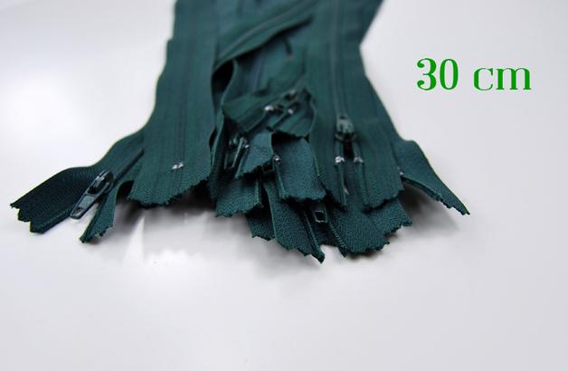 10 x 30cm waldgrüne Reißverschlüsse - 1