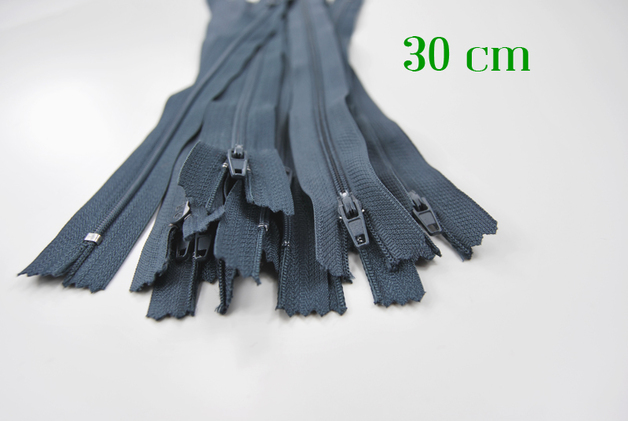 10 x 30cm blaugraue Reißverschlüsse
