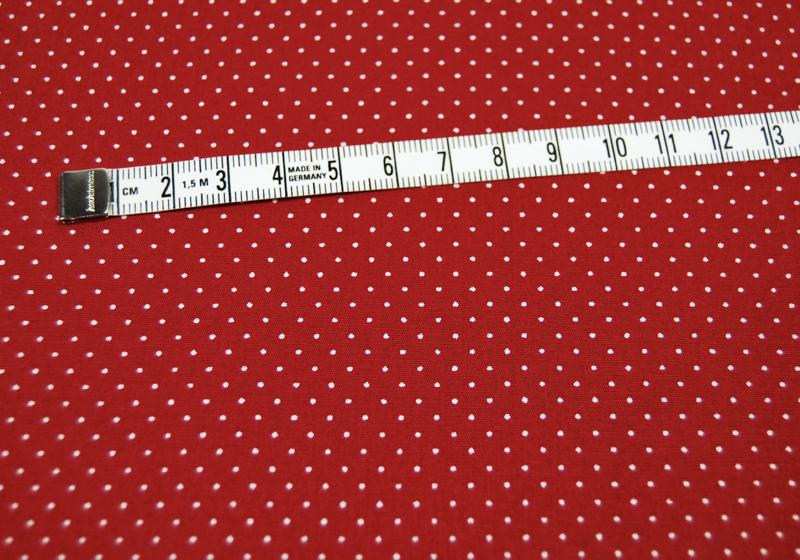 Dunkelrote Baumwolle mit weisse Minipunkte 0 5m