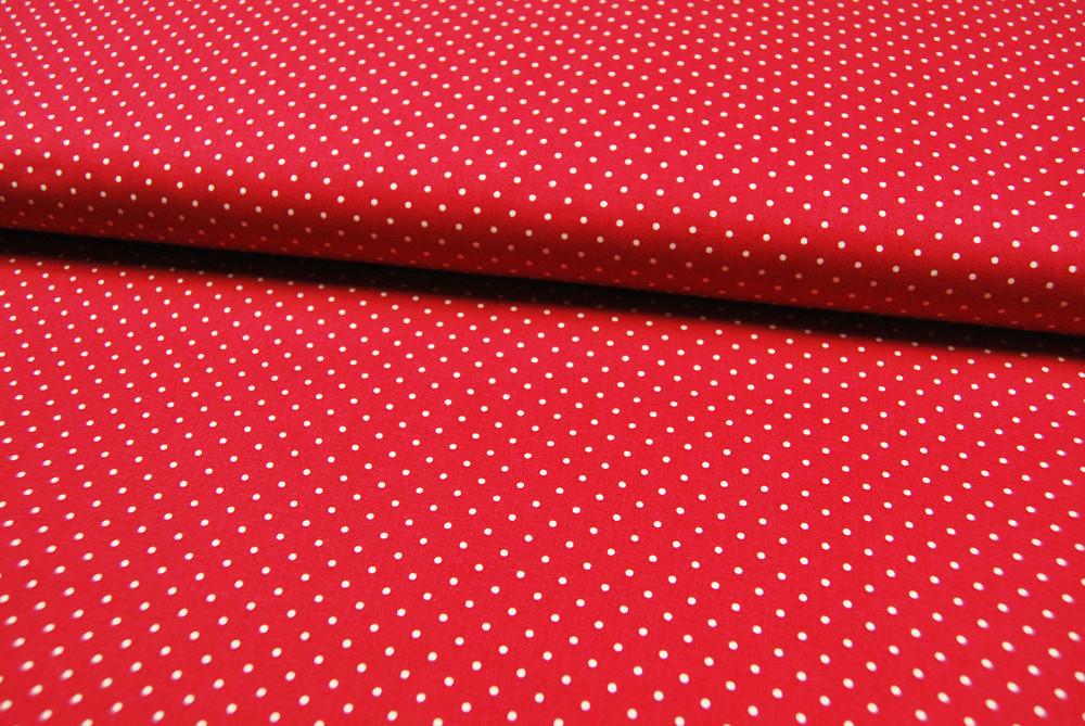 Rote Baumwolle mit weißen Punkten Meter - 1