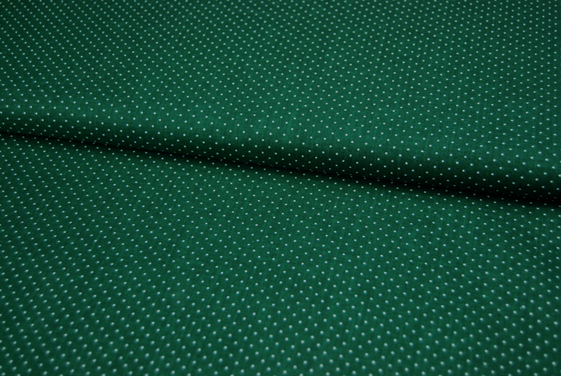 Waldgrüne Baumwolle mit Minipunkte 0,5m - 1