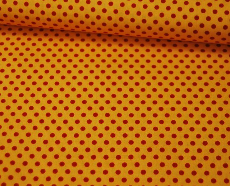 Rote Punkte auf sonnengelbe Baumwolle 05m - 2