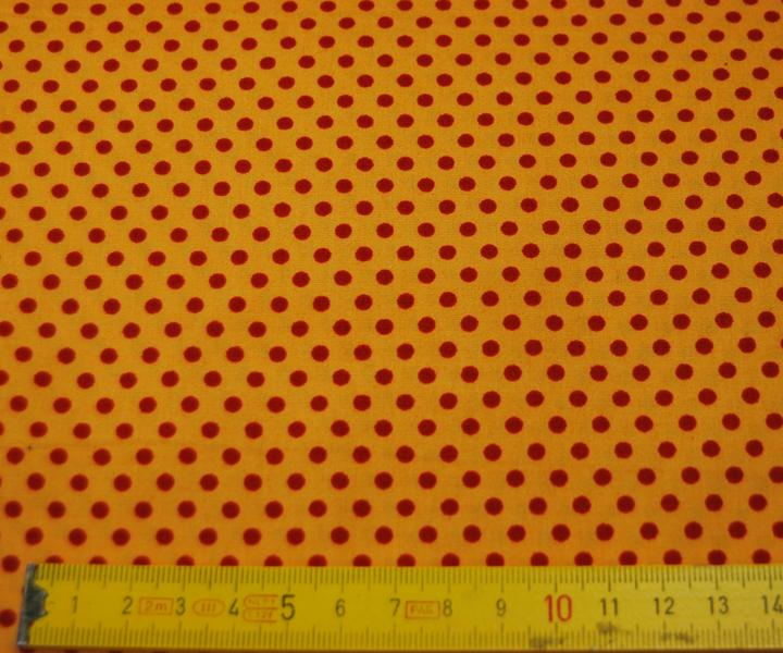Rote Punkte auf sonnengelbe Baumwolle 0,5m - 3