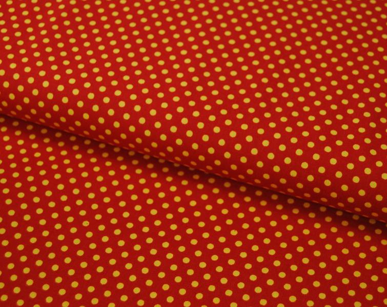 Gelbe Punkte auf terracottafarb. Baumwolle 0,5m - 1