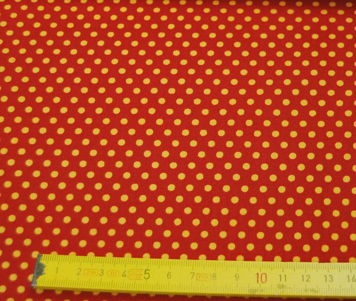 Gelbe Punkte auf terracottafarb. Baumwolle 0,5m - 3