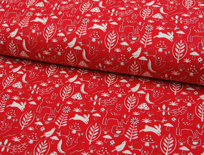 Rote Waldmotiv Baumwolle von Kokka 0,5 m - 3