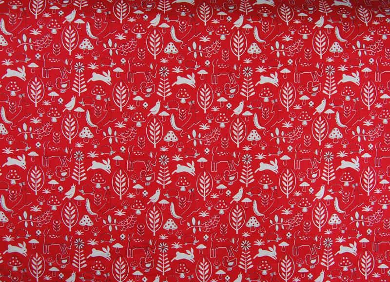 Rote Waldmotiv Baumwolle von Kokka 0,5 m - 1
