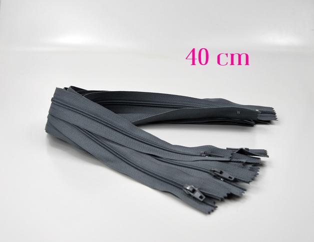10 x 40 cm graue Reißverschlüsse