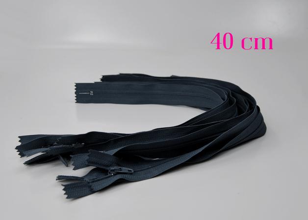10 x 40 cm blaugraue Reißverschlüsse