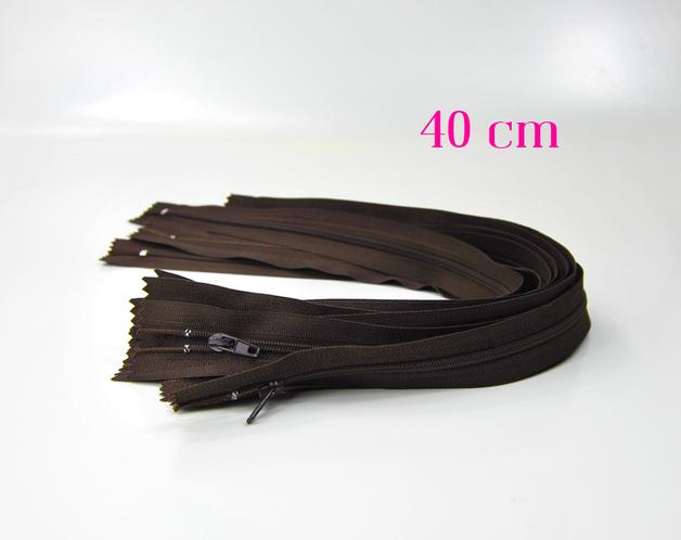 10 x 40 cm schokobraune Reißverschlüsse