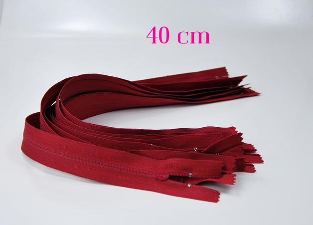10 x 40cm dunkelrote Reißverschlüsse - 1