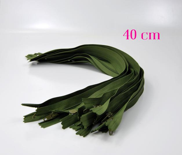 10 x 40 cm moosgrüne Reißverschlüsse