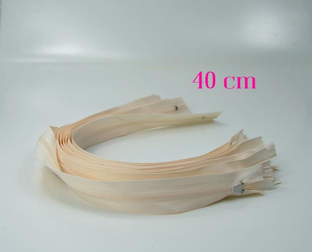10 x 40 cm sandfarbene Reißverschlüsse