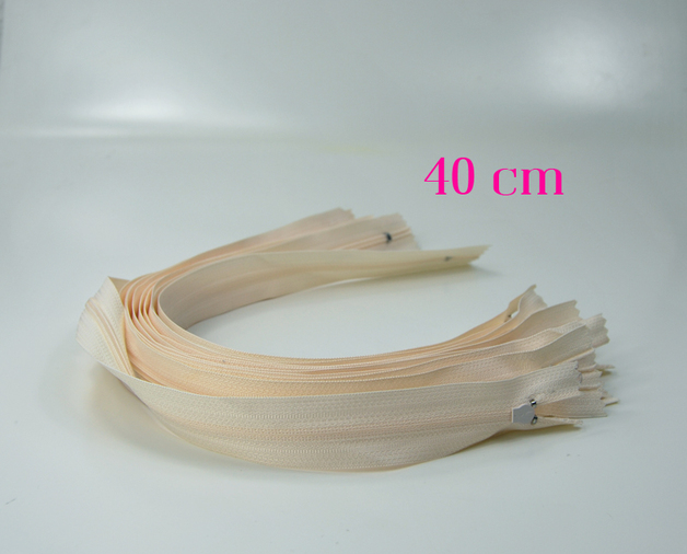 10 x 40 cm sandfarbene Reissverschluesse