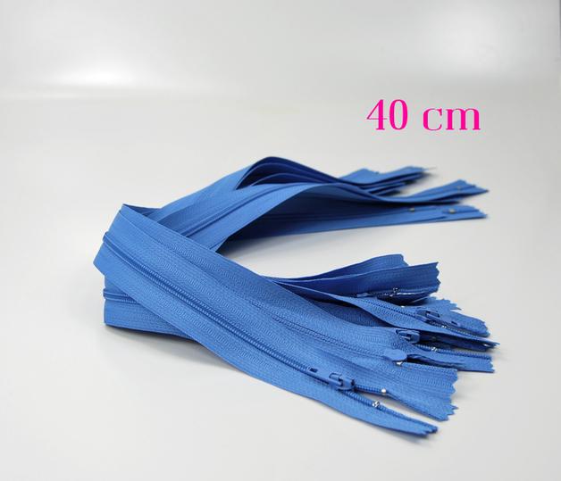 10 x 40 cm hellblaue Reißverschlüsse