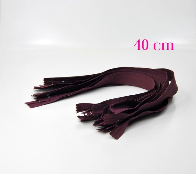 10 x 40 cm bordeauxfarbene Reißverschlüsse - 1