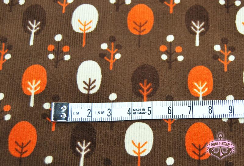 Brauner Feincord mit Bäumen von Cosmo 0,5 Meter - 3