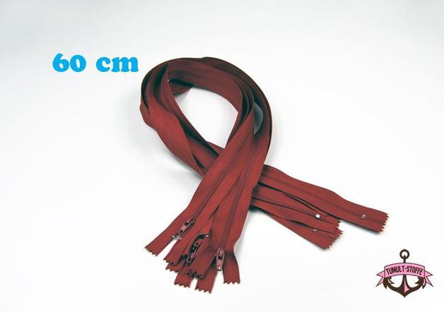 5 x 60 cm dunkelrote Reißverschlüsse