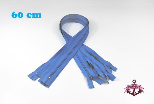 5 x 60 cm hellblaue Reißverschlüsse