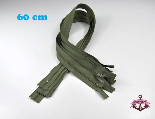5 x 60 cm moosgrün Reißverschlüsse - 1