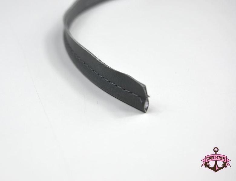 Kunstleder Paspelband in Grau - 1