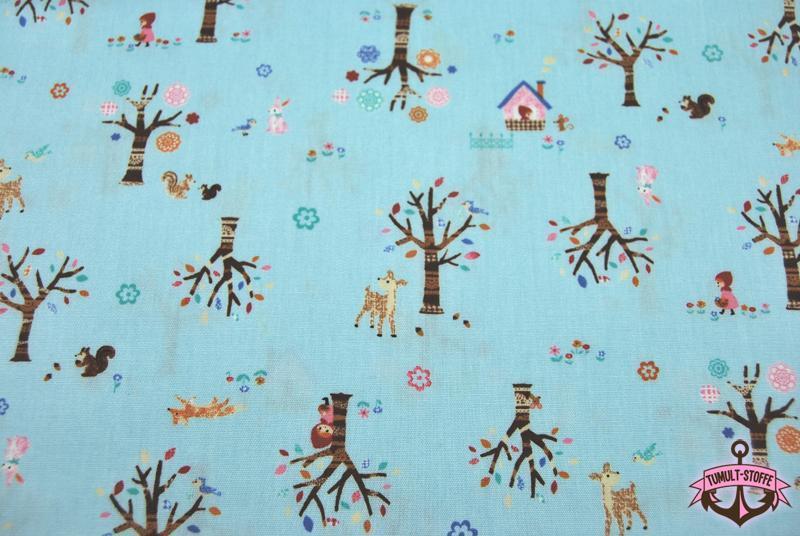 Märchenhafte Baumwolle auf Hellblau Cosmo 0,5m - 4