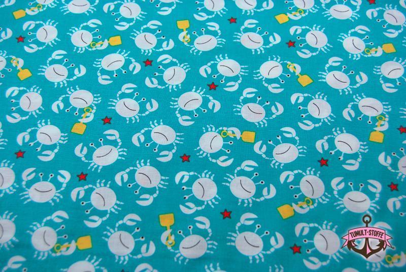 Little Diggers-Krabben auf Türkis Baumwolle 0,5m