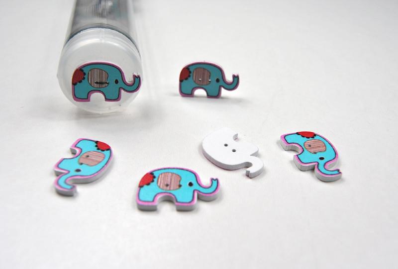 Holzknoepfe Tuerkise Elefanten - 5 Stueck