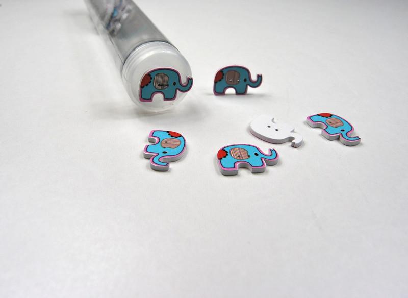 Holzknöpfe: Türkise Elefanten - 5 Stück - 2