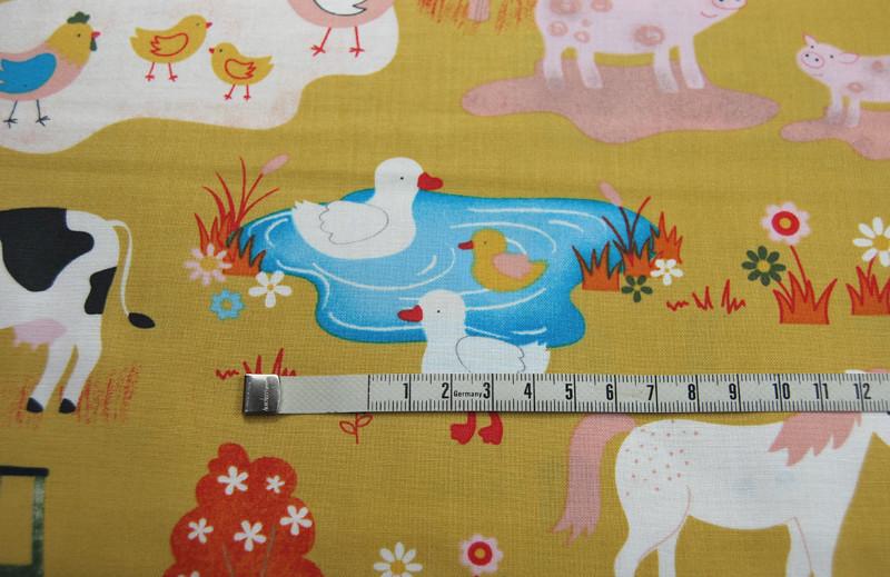 Bauernhof Muster - Baumwolle - auf Senf 0 5m