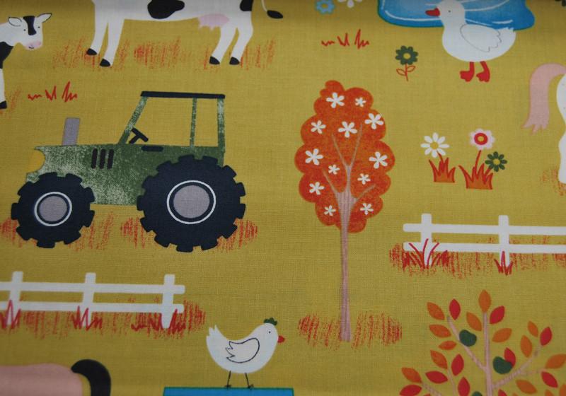 Bauernhof Muster Baumwolle auf Senf 05m