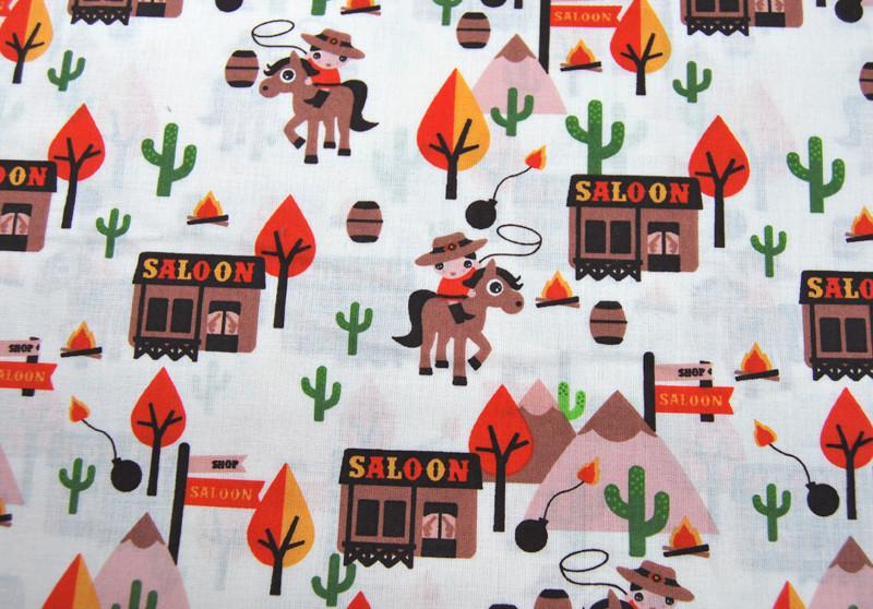 Cowboy - Baumwolle - auf Cremeweiss 0,5m - 2