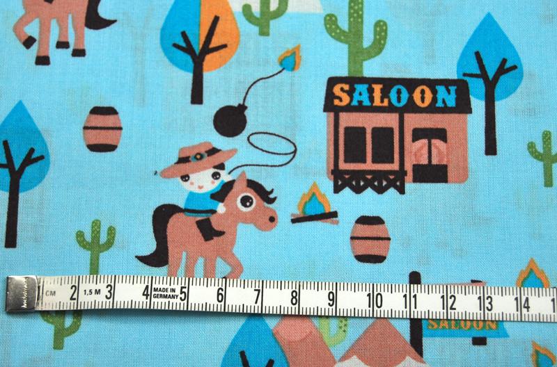 Cowboy - Baumwolle - auf Hellblau 0 5m