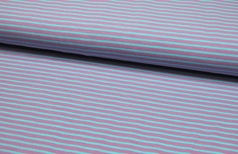 Jersey - Streifen Flieder-Mint - 0.5 Meter