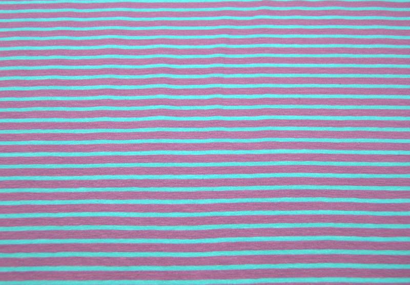 Jersey - Streifen: Flieder-Mint - 0.5 Meter