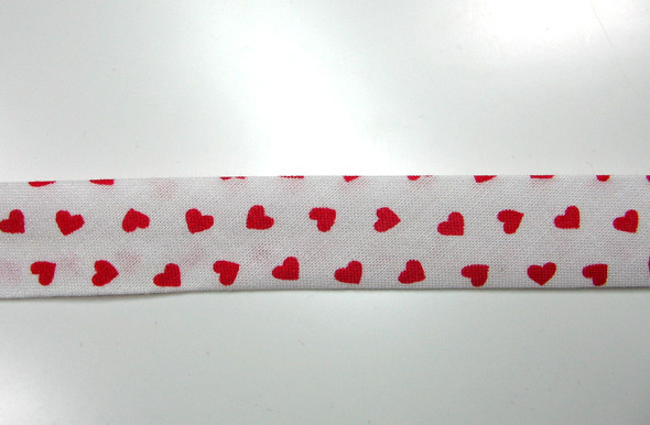Schrägband Meter weiß mit roten Herzen
