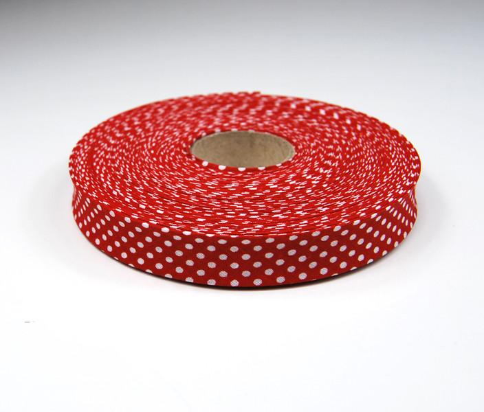 Schraegband 1 Meter in Rot mit weissen Punkten