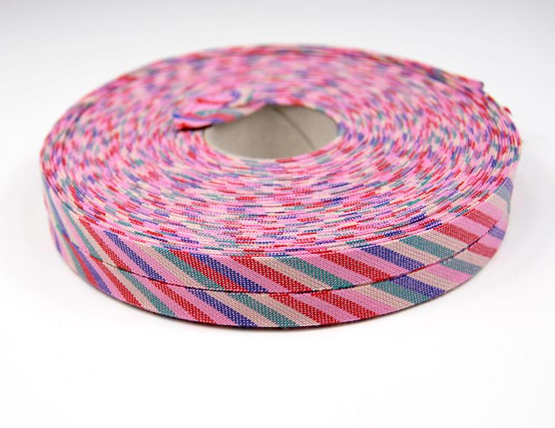 Schrägband -1 Meter Rosa-Bunt gestreift 2